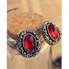 Wholesale Noble & Graceful Carving Hollow-out Diamond Earrings---- Red top dresses