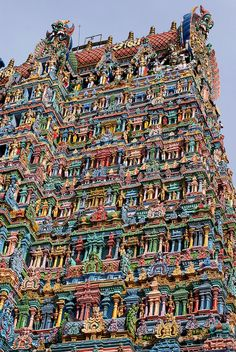 While the Taj Mahal dazzles with its vast marble sheen, the Meenakshi Amman Temple is resplendent in a blaze of colors. The city of Madurai in the South Eastern Indian state of Tamil Nadu is one of the oldest continually inhabited cities in the world and Places Around The World, Oh The Places You'll Go, Travel Around The World, Cool Places To Visit, Places To Travel, Travel Destinations, Vacation Places, Madurai, Taj Mahal