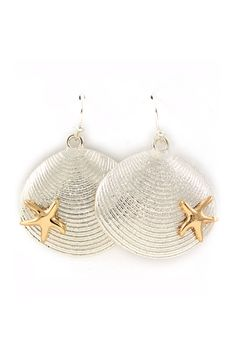 Shell Dangles in Gold on Silver