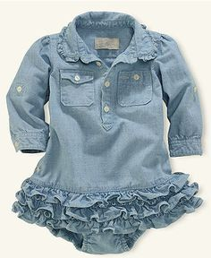 - Baby & Kids Fashion - Ralph Lauren Baby Dress, Baby Girls Chambray Dress – Kids Baby Girl months) – Macy's - Baby Kind, My Baby Girl, Baby Love, Baby Girl Onesie, Pretty Baby, Baby Baby, Baby Girl Fashion, Kids Fashion, Diy Vetement