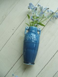 Vintage Blue Ceramic Vase Urn Shape Japan by lookonmytreasures on Etsy