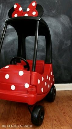 Ha - A super cute #Minnie made-over Little Tikes Cozy Coupe.