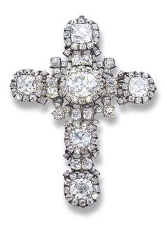 Diamond Cross Brooch/pendant -  c. 1750 - old-cut cushion-shaped diamond clusters with diamond collet detail - foil-backed settings - mounted in silver with later gold brooch and pendant fitting
