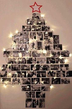 58 ideas for diy christmas tree decorating ideas navidad Wall Christmas Tree, Unique Christmas Trees, Alternative Christmas Tree, Noel Christmas, Christmas Ornaments, Christmas Ideas, Christmas Cards, Xmas Trees, Christmas Christmas