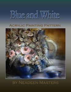 How to paint a floral still life painting using a soft color palette of Blue and White