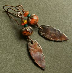 Rustic Copper Earrings Shibuichi Dagger Orange OOAK. $42.00, via Etsy.