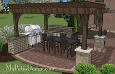 Outdoor Entertainment Patio Design with Pergola and Bar | 855 sq ft | Download Installation Plan, How-to's and Material List @Mypatiodesign.com