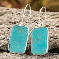 turquoise dangle earrings by Guillermo Arregui for Novica