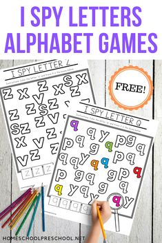 Free Printable I Spy Letters Alphabet Worksheets Preschool Learning Activities, Letter Activities, Free Preschool, Preschool Curriculum, Preschool Printables, Preschool Lessons, Preschool Worksheets, Kindergarten Literacy Centers, Letter Identification Activities