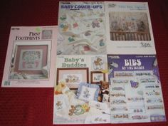 lot 17 CROSS STITCH PATTERN BOOKS baby pillows afghans wall hangings bib blanket