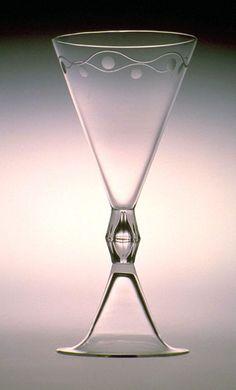 Funnel Wine Glass by Peter Behrens Corporate Design, Art Nouveau, Vintage Wine Glasses, Antique Glassware, Drinking Glass, Glass Design, Art Decor, Designer, Glass Art