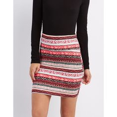 Charlotte Russe Printed Bodycon Mini Skirt ($11) ❤ liked on Polyvore featuring skirts, mini skirts, neon coral, striped skirts, charlotte russe, mini skirt, short skirts and print mini skirt
