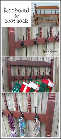 My Repurposed Life-How to make a useful coat rack out of an old headboard