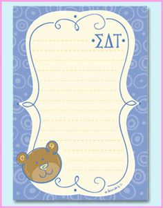 Sigma Delta Tau Sorority Mascot Notepad $5.99