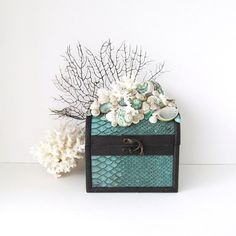 Aqua Rustic Box with Seashells Coral and Sea Fan Chocolate Brown Teal Faux Snakeskin