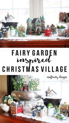 How to Make a Fairy Garden Christmas Village, Christmas Village inspired by Fairy Gardens by @CraftivityD