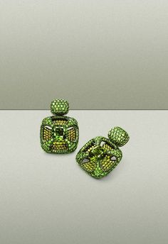 Hemmerle earrings   tourmalines - demantoids - silver - white gold