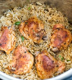 Recipes shows Instant Pot Garlic Herb Chicken and Rice. The best instant pot chicken and rice. This Instant Pot Garlic Herb Chicken and Rice is a wholesome dinner that entire family will love. Chicken Thigh And Rice Recipe, Instant Pot Chicken Thighs Recipe, Chicken And Rice Crockpot, Rice Instant Pot Recipe, Instant Pot Dinner Recipes, Chicken Rice, Salad Chicken, Instapot Chicken Thigh Recipe, Instantpot Chicken Recipes