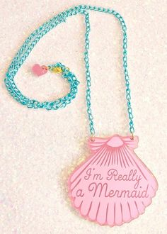 Image of A Mermaid gave me this Pink Shell Necklace (Blue chain)