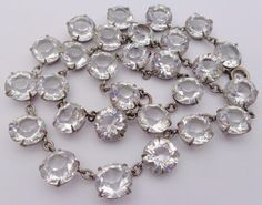 Vintage Open Backed Clear Glass Crystal Beads Choker Necklace Edwardian - 20s