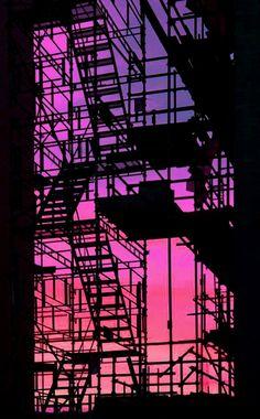 Fire Escape Silhouette at Sunset Urban Photography, Street Photography, Phoenix Legend, Urbane Fotografie, Fire Escape, Jolie Photo, Parkour, Urban Landscape, Landscape Design