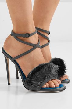 8f67d1f2338d9a Marco De Vincenzo - Fringed satin and leather sandals