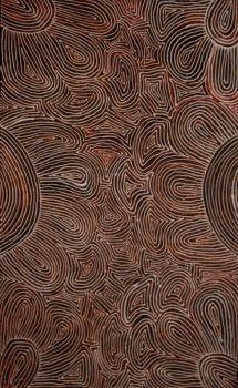 Marcia Turner Pwerle  Body painting - acrylique sur toile - 77x125cm  Aboriginal art