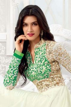 Kriti Sanon - Off White and Green Faux Georgette Indian Celebrities, Bollywood Celebrities, Bollywood Fashion, Beautiful Bollywood Actress, Beautiful Indian Actress, Stylish Girls Photos, Girl Photos, Sonam Kapoor, Deepika Padukone