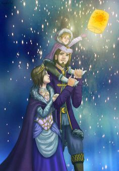 """Happy Ending by TheNamelessDoll.deviantart.com on @deviantART - Rapunzel and Eugene (aka Flynn Rider) from """"Tangled"""", with their (hypothetical) daughter. This is so cute :D"""