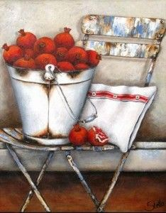 """Pomegranates in bucket"" by South African Artist, Stella Bruwer"