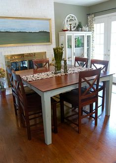 A former counter-height table shortened to a traditional height. Need to do this for our own counter-height table!