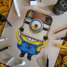 Instagram Minion! by @kylestyl3 . Follow us for more @just_arts_help