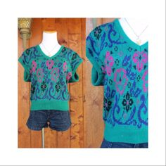 80's Sweater Blouse Vintage Jewel Tone Slouchy Top 1980's Cap Sleeves Hipster Kawaii Teal Green Floral Size Medium Large