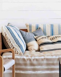 DIY striped rug pillows for your outdoor space