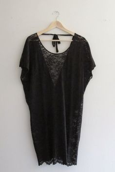 Bohemian Black Lace Low Back Tunic Dress