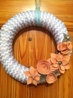 Hey, I found this really awesome Etsy listing at https://www.etsy.com/listing/180838472/chevron-wreath-with-felt-flowers-home