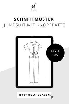 Ob zum Fahrradfahren oder chic für den Abend. Mit dem Jumpsuit ist man für viele Gelegenheiten immer passend gekleidet. Er hat eine entspannte Silhouette und sitzt locker und bequem. Der V-Ausschnitt gibt dem Overall eine lässige Note und der lange Bindegürtel in der Taille bringt den Jumpsuit in Form. Eine Knopfpatte dient als Verschluss und zwei praktische Seitentaschen hat der Anzug noch dazu. Jetzt Schnittmuster Jumpsuit downloaden. Trends, Overall, Form, Silhouette, Movie Posters, Sew Simple, Ride A Bike, Diy Sewing Projects, Diy Fashion