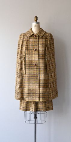 Pendleton Plaid cape and skirt set 1960s tweed cape by DearGolden