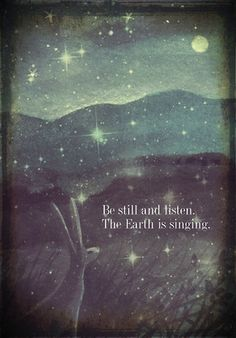 Be still and listen by Karen Davis. From her blog : http://moonlightandhares.blogspot.co.uk/2012/11/new-cards.html. On Etsy here: http://www.etsy.com/listing/121416326/be-still-and-listenthe-earth-is-singing