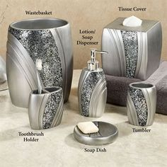 Brilliance Mosaic Silver Gray Bath Accessories
