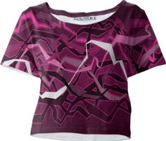 0000000P/Funky Abstract Waves Pink Crop Tee
