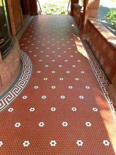 Veranda Red Hexagon Floor Tile by Clay Squared to Infinity Penny Tile Floors, Ceramic Floor Tiles, Clay Tiles, Ceramic Flooring, Porcelain Floor, Ceramics Tile, American Restoration, Modern Flooring, Flooring Ideas