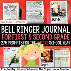Bell ringer journal for the entire school year: Grades 1-2:  including 275 journal prompts for primary students.This product provides teachers with an entire school year of journal prompts in an organized and focused way. The journal is organized by month with 25 entries per section.