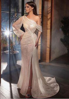 Sequin Evening Dresses, Long Sleeve Evening Dresses, Evening Dresses For Weddings, Evening Gowns, Gowns For Party, Champagne Evening Gown, Champagne Long Dress, Sexy Evening Dress, Glam Dresses