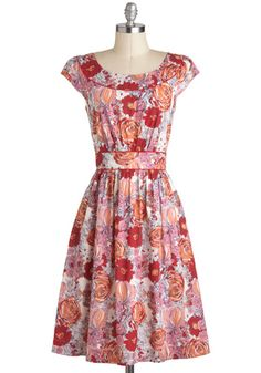 Day After Day Dress in Bouquets by Emily and Fin - Casual, A-line, Cap Sleeves, Spring, International Designer, Red, Orange, Pink, Floral, Pockets, Daytime Party