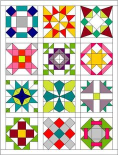 A range of layout ideas for GI Comm Quilts? Barn Quilt Designs, Barn Quilt Patterns, Pattern Blocks, Quilting Designs, Sampler Quilts, Star Quilts, Scrappy Quilts, Quilt Blocks, Amish Quilts