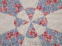 "$225 Excellent & Fabulous! Vintage Blue Red White Floral  Feedsack QUILT Clean 74x60"" www.Vintageblessings.com"
