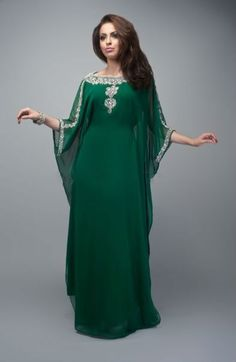 Specials Custom Made Crystal Beaded Green Chiffon Kaftan Dress For Muslim Mother Of The Bride Free Measurement