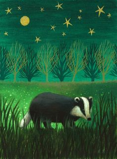 Antoinette Kelly - Night Badger - Artists & Illustrators - Original art for sale direct from the artist Art And Illustration, Badger Illustration, Illustrations, British Wildlife, Wildlife Art, Moonlight Painting, Original Art For Sale, Woodland Creatures, Animals Beautiful
