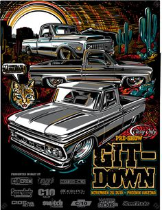 T-shirt and poster artwork for pre-show classic truck gathering. Lowrider, Car Illustration, Illustrations, Classic Chevy Trucks, Classic Cars, Chevrolet Silverado, Chevy Tattoo, Hummer Cars, Festa Hot Wheels
